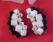 Drastically Reduced ~ Dynamic Black & Iridescent White Crystals Hand Wired Climber Clip Earrings