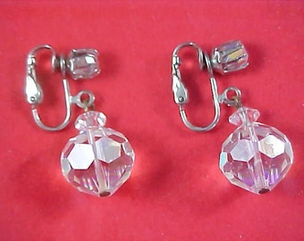 Exquisite GENUINE CRYSTAL Faceted Dangle Clip Earrings
