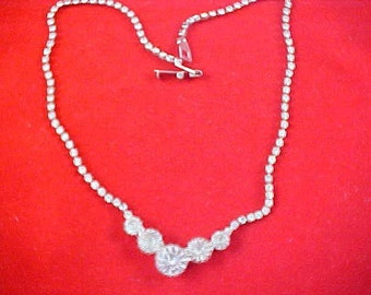 ART DECO Headlights & Chatons Diamante and  Silver Plate Necklace