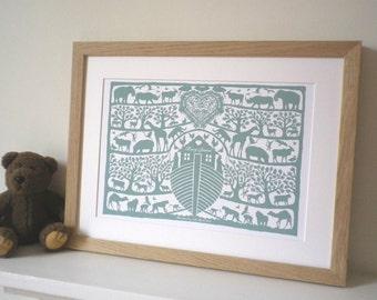 Personalised Noah's Ark Heart Print