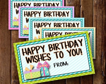 Happy Birthday Wishes To You Tags- (8) 2x3.5 Cards- Instant download