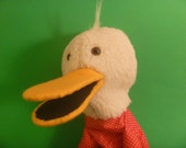 Cute Simple White Duck in Red Polka Dot Shirt Hand Puppet