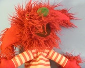 Furry Crazy Red Troll in Striped Shirt Hand Puppet