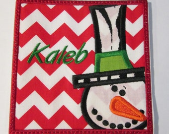 Christmas Iron On Applique -Snow Boy and Girl Box with Embroidered Names