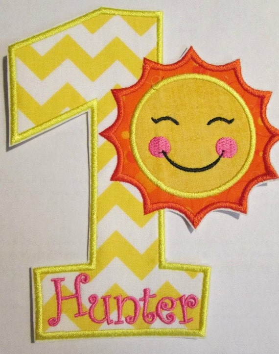 Iron On Applique -Summer Sun Birthday Set with Numbers Or Letters