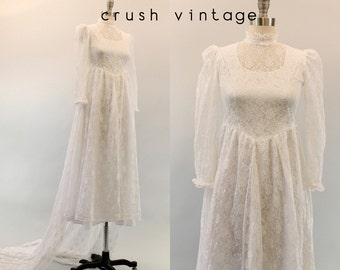 60s Lace Wedding Dress Small / 1960s Bridal Gown /  Mon Amour Gown