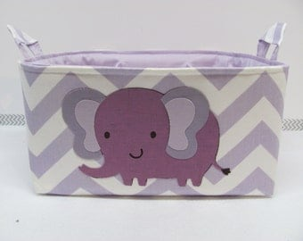 SALE Fabric Applique ELEPHANT Diaper Caddy - Fabric organizer storage bin basket - Nursery Decor - Baby Gift - Zig Zag/Chevron - RTS