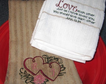 Embroidered  Kitchen Towel Set- Love each Other- John 13:34