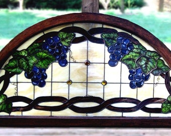 Arched Grape Arbor & Vines - Genuine Antique Frame with Antique-Reproduction Stained Glass Hanging Panel - victorian style window-