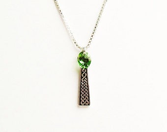 Celtic Necklace, Celtic Gift, Celtic Braid and Green Swarovski Crystal Necklace  - on Sterling Silver Chain