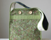 HUMPHRED JONES ---x--- A messenger styled bag in 'Picnic Greens', made from vintage upcycled fabrics