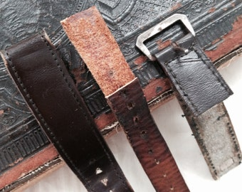 Weathered and Worn Leather Watch Band Remnants