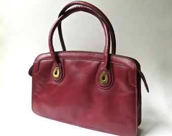 70s vintage Etienne Aigner Burgundy Leather Satchel