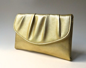 Mid Century vintage Shimmery Ruched Gold Vinyl Clutch