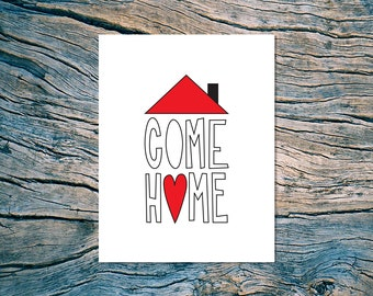 Come Home - A2 folded note card & envelope