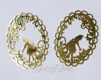 5 pieces - Alice in Wonderland theme Metal Filigree for jewelry