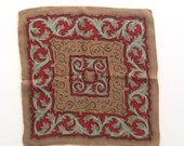 Vintage Hanky, Brown With Teal And Red Geometric Design