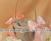 Bridal Satin and Sash Flower Girl Basket..BOGO Half Off...You Choose The Ribbon Colors..shown in silver gray/pale pink