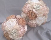 Reserved for GWENDALYN -  vintage bridal  bouquet, bridesmaid bouquet and 6 x boutonnieres