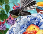 Fantail and peaches: Gabby Malpas watercolour C6 greeting card and envelope