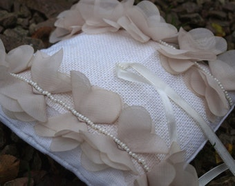 SALE Wedding Pillow With Beige Petals - Ring Bearer Pillow - Wedding Ring Pillow