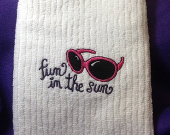 Fun in the Sun Embroidered Kitchen Towel - Pink Sunglasses