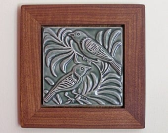 Love Birds porcelain tile in green, handcarved tile, arts and crafts style-MADE TO ORDER
