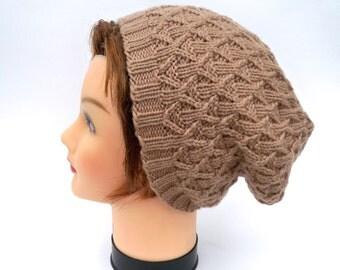 Slouchy Beanie - Nutmeg Hat - Women's Hat - Cable Knit Beanie - Merino Wool Hat - Winter Headwear - SALE 40% OFF -