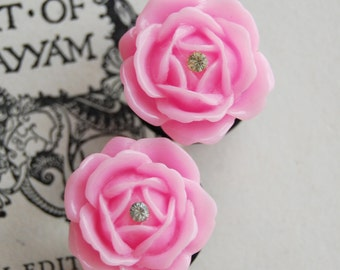 "3/4"" (20mm) Pink Rose Flower Plugs for stretched ears."