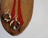 Recycled Skateboard Small Hoop Earrings-Leopard Print