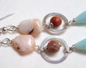 Peruvian Blue Opal earrings: Peaches and Blue Cream, mexican fire opal earrings