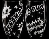 2 Comic Book Wedding Champagne Flutes, Personalized Toast Glasses