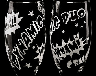 2 Comic Book Wedding Champagne Flutes, Personalized Toast Glasses, Gift for Couple