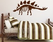 Stegosaurus Dinosaur Decal, Prehistoric Skeleton vinyl decal for boys room, wall decor