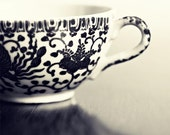 Black and White Kitchen Photography, dark grey silver flower bird antique cottage shabby chic, Tea Cup Black and White 2