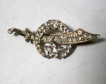 Sword Crescent Moon Pin, SHRINERS Symbolic Rhinestone Brooch, Ottoman,  1960s Bright Rhinestones and Silver Brooch Pin