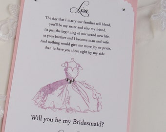 Set of 2 Bridesmaid Invitation 5x7- Will you be my- The Day that I Marry-Customize- Maid of Honor- Matron of Honor- FlowerGirl- Dress