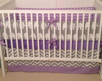 Baby Girl Crib Bedding Set Gray Lavender Elephant