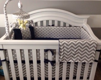 Crib Bedding Set Gray White Navy Blue with Options