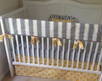 Baby Crib Bedding Gender Neutral Yellow and Gray