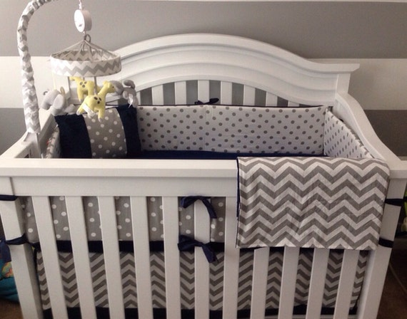 Crib Bedding Set Gray White Navy Blue With By