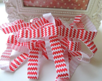 "5 Yards of 5/8"" Chevron Printed Fold Over Elastics FOE - Red and White"