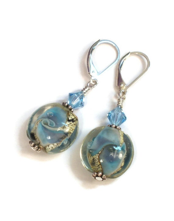 Lampwork Earrings - Blue Swirl Aquamarine Crystal Sterling Silver Leverback