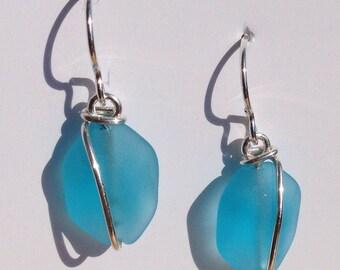 Aqua Blue FACET earrings