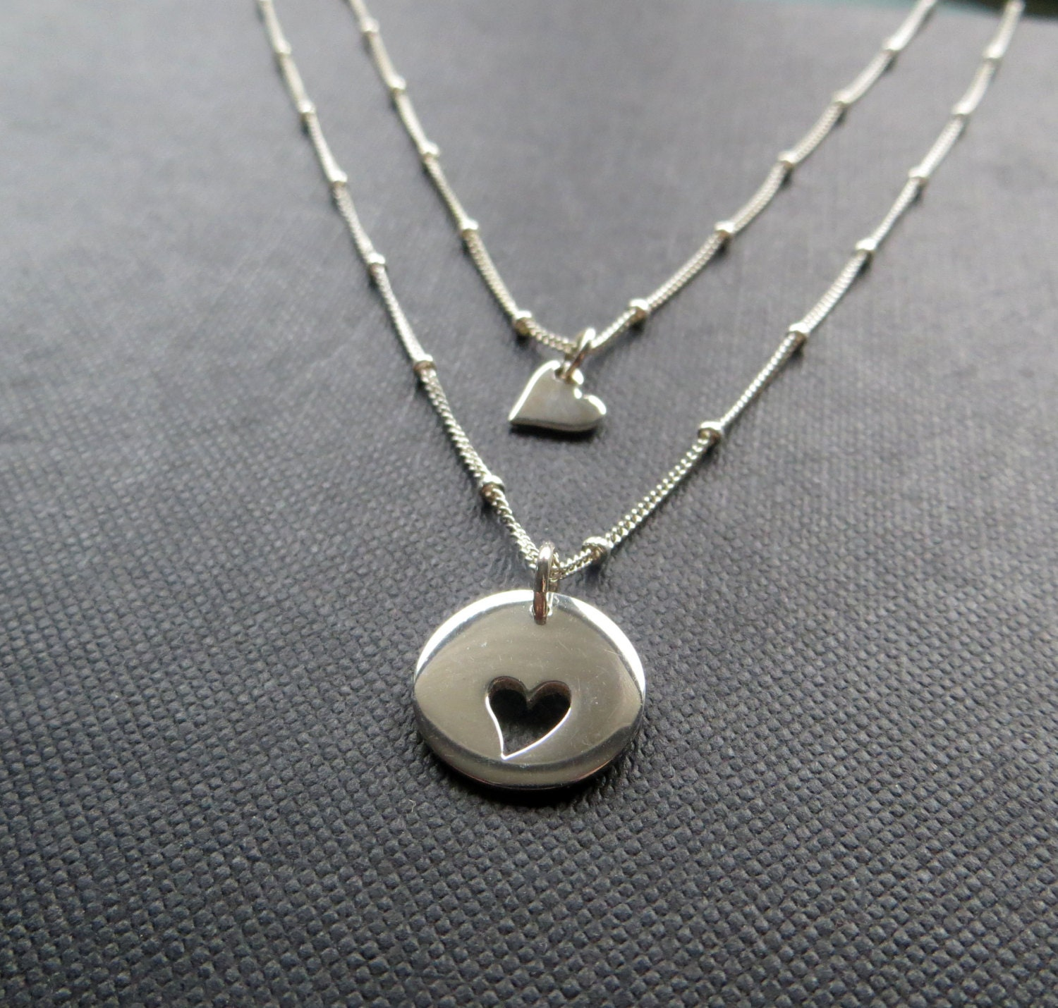 Mother Daughter Heart Necklace Amp Dew Drop Chain Sterling