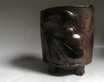 handmade POTTERY, Earthy, Tall footed Vessel, leaf design