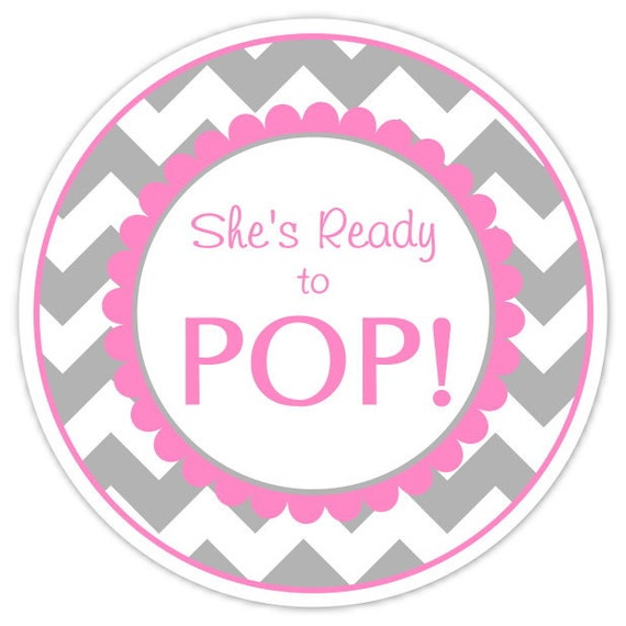 Baby Shower Ready to Pop labels, Gray Chevron and Pink, Ready to Pop ...