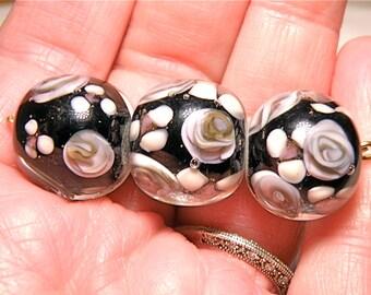 60% OFF -- DESTASH --Three Large Round Very Dark Purple (Black?) Floral Lampwork Beads