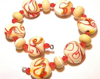 60% OFF SALE --- DESTASH -- 13 Beads: Coordinating Set of Ivory, Red, and Yellow Swirl Lentils and Rondelles - Lot F