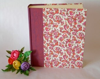 Photo album - mauve - plum with pink and coral Florentine  - 8x10in 20.5x24.5cm - Ready to ship